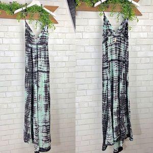 Gypsy 05 Aqua Tie Dye Triangle Maxi Dress Sz L